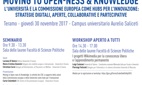 EVENTI:  Moving to Open-ness & Knowledge. #Università e la #CommissionEU come hubs per l'innovazione #30novembre @cdeUniteramo