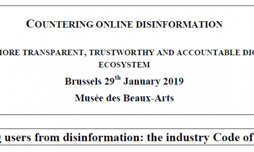 EVENTI: Countering online #disinformation – Towards a more transparent, credible and diverse digital media ecosystem @eu_commission #crowdsearcher #29gennaio #brussel